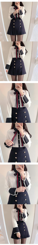 Sasha color ribbon blouse