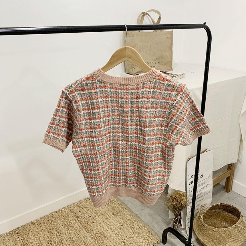 圓領撞色格紋花呢短袖上衣(3色)