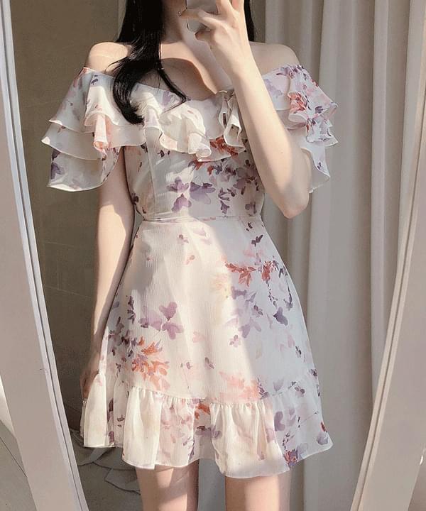 Giselle floral shoulder frill dress