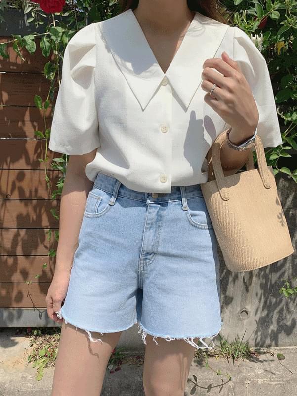 Peach collar blouse