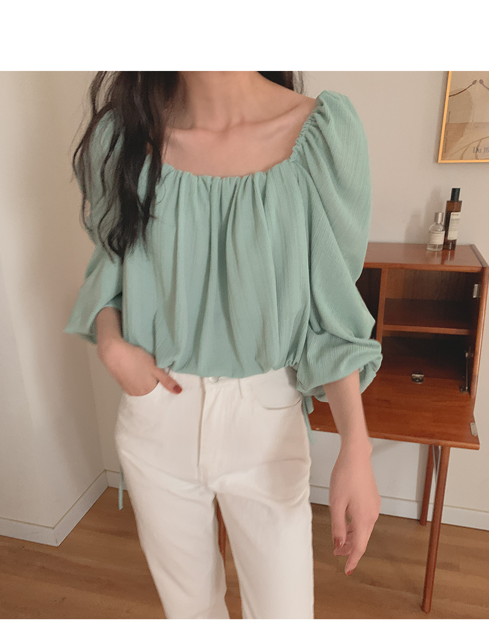 Ally square puff blouse