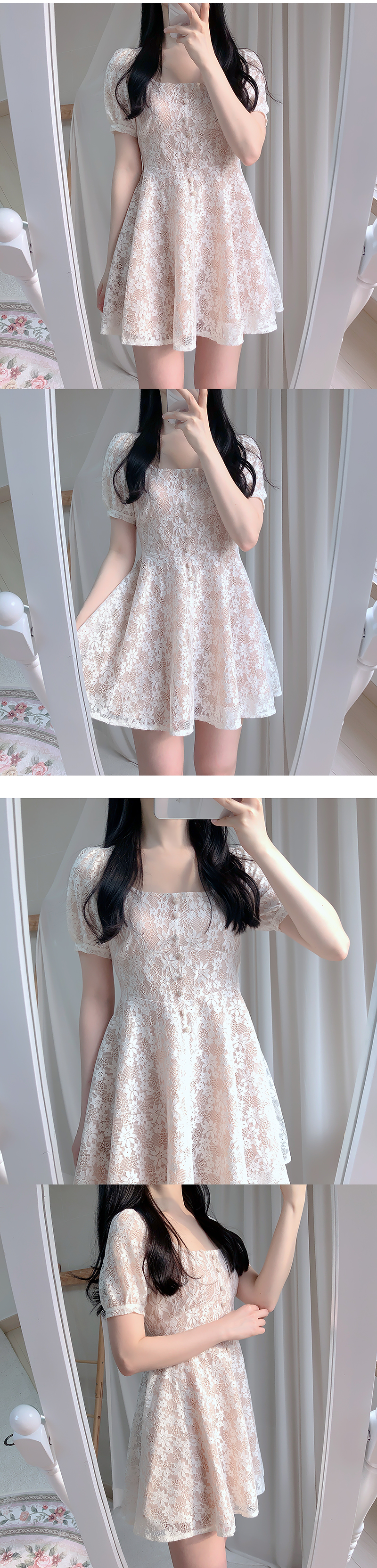 Wedding square lace dress