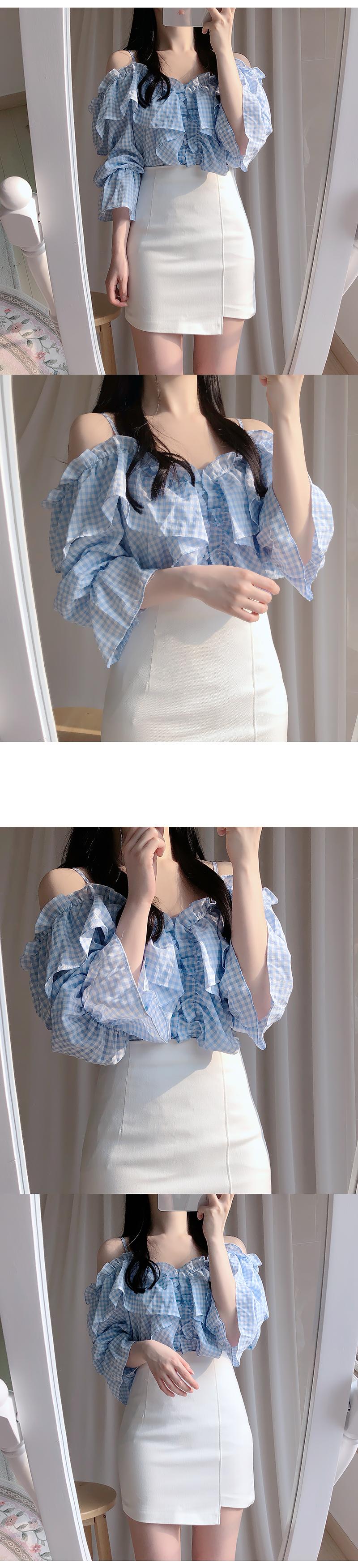 Wiki Check Off Shoulder Blouse