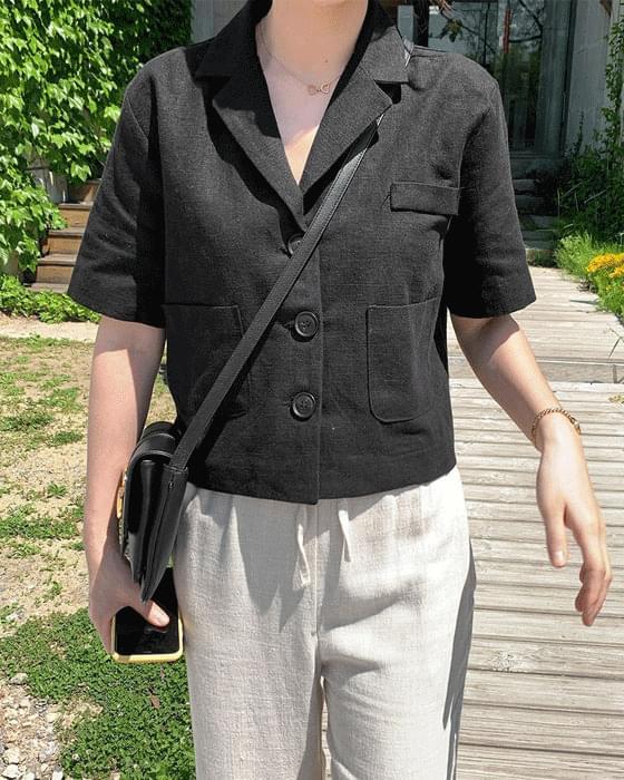 반팔 크롭 jacket (린넨100) - 2color