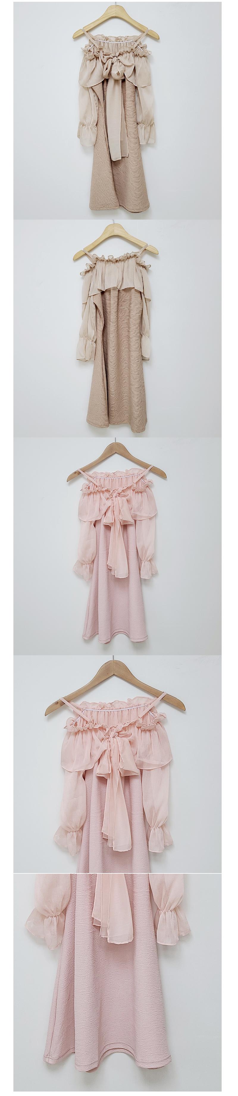 露肩荷葉褶邊領綁帶短洋裝 粉/米