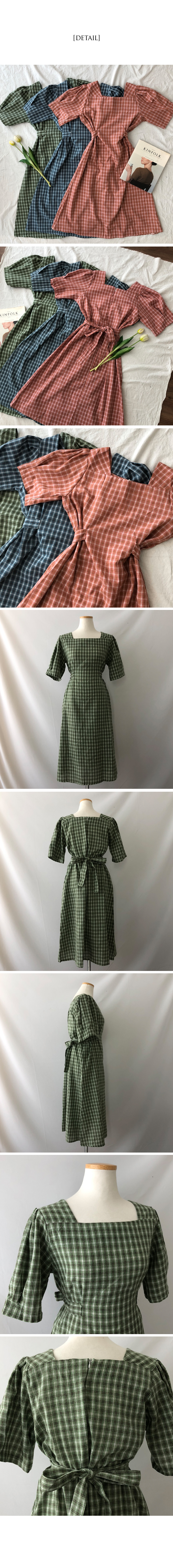 Catfish Linen Square Neck Check Long Dress