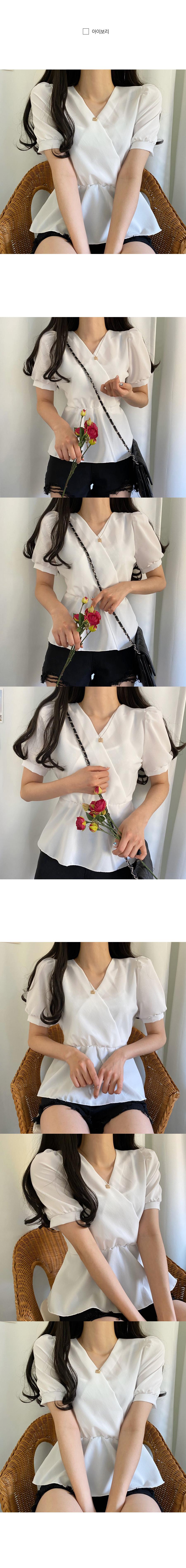 Dandelion wrap chiffon flare short sleeve blouse