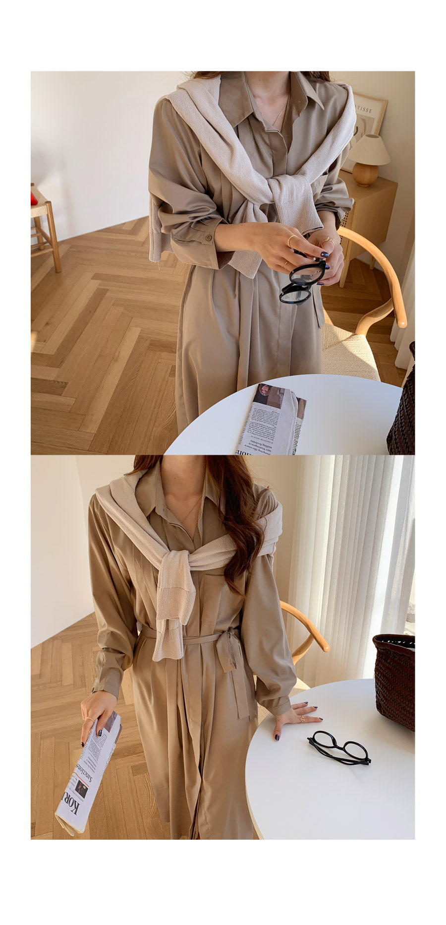 JUNIEL Pin Tuck Shirt Long Dress