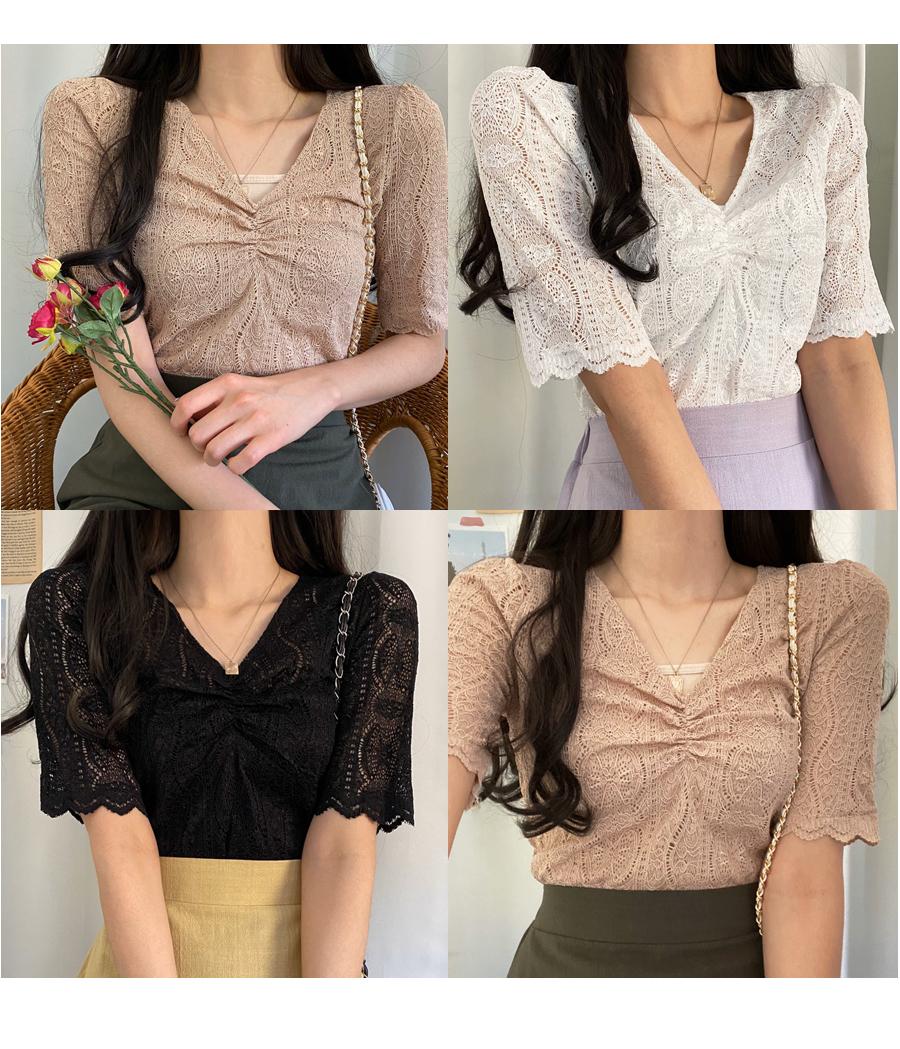 Senora Shirring Lace T-Shirt