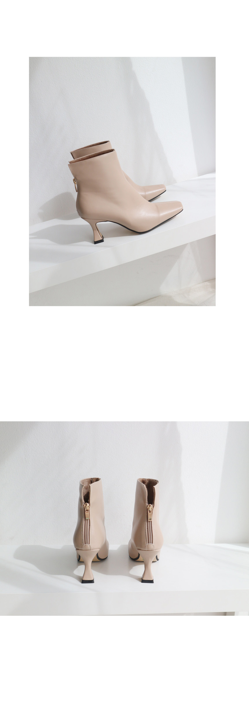 Back zipper square ankle boots