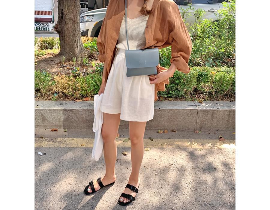 Nicole pintuck linen shorts_J (size : free)