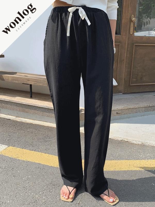 Linen banding pants; black