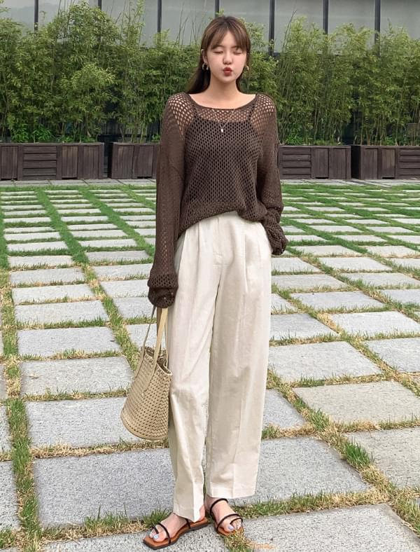 Daily high waist pintuck linen pants