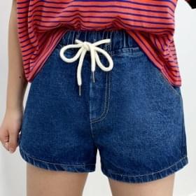 Banding denim short pants