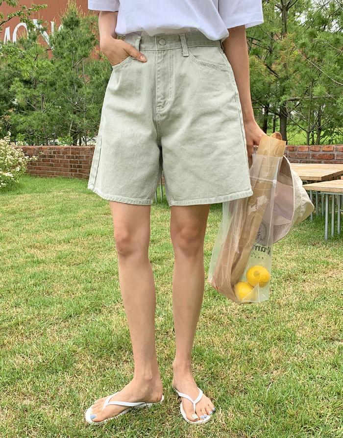 Loose-washed color denim 4 piece short pants