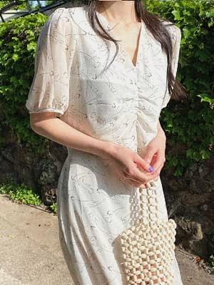 Plain shearing dress ワンピース