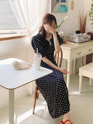 Volume Square Dot Dress ワンピース