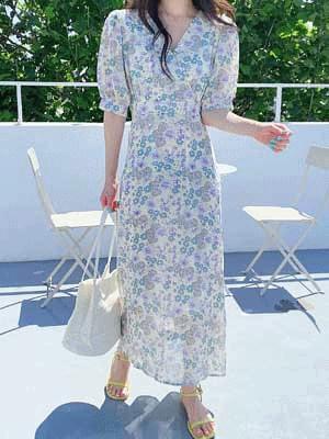 Phyton Flower Chiffon Dress