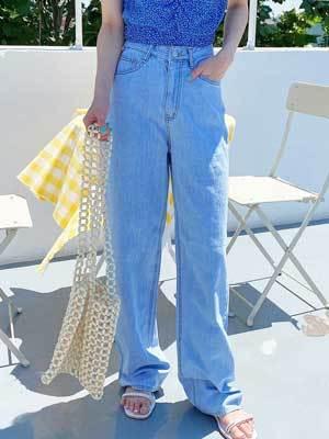 Summer soft blue wide pants