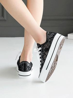 Itelon lace-heeled trainers 4 cm
