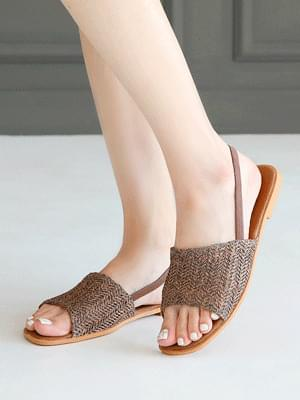 Retic Ratan Slingback Sandals 1cm