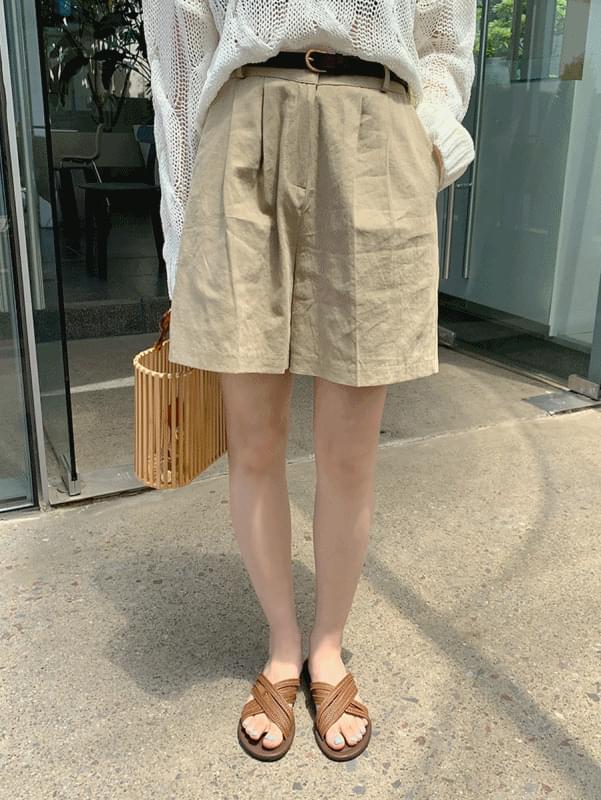 Linen pintuck short pants
