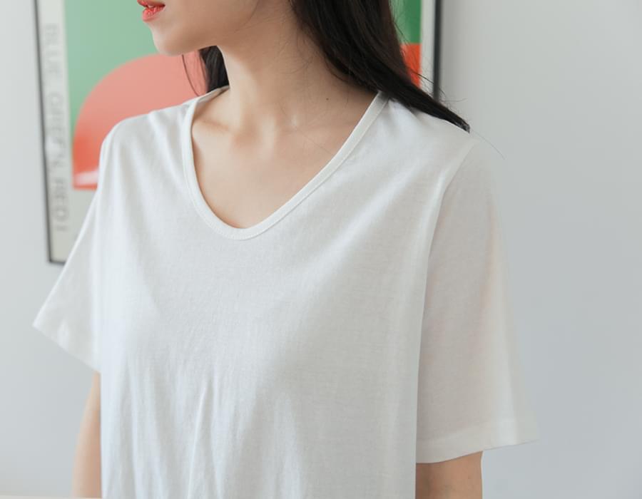 Tencel simple u-neck T_C 短袖上衣