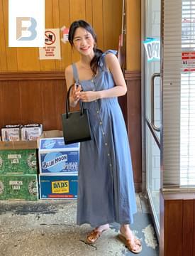 Floor button bustier dress