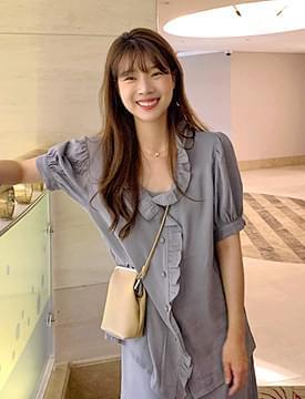 Unique frill puff blouse