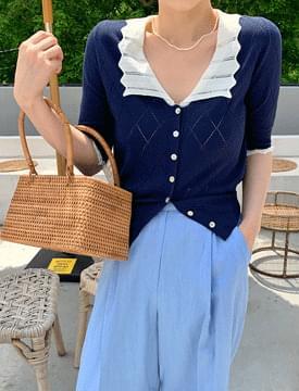 Lace collar color cardigan カーディガン & ベスト