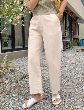 Creme cotton banding pants