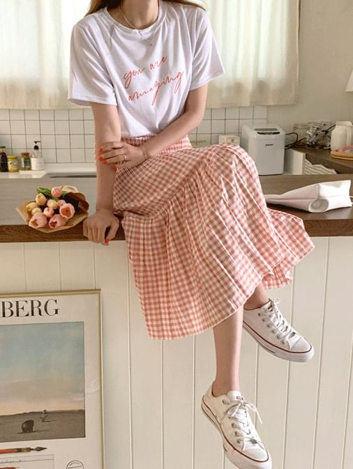 Pure Check Pleated Banding Long Skirt