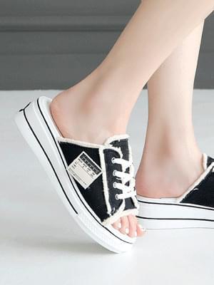Seziel lace-up platform slippers 4 cm
