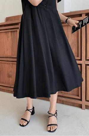 Ballon V Neck Pleated Dress