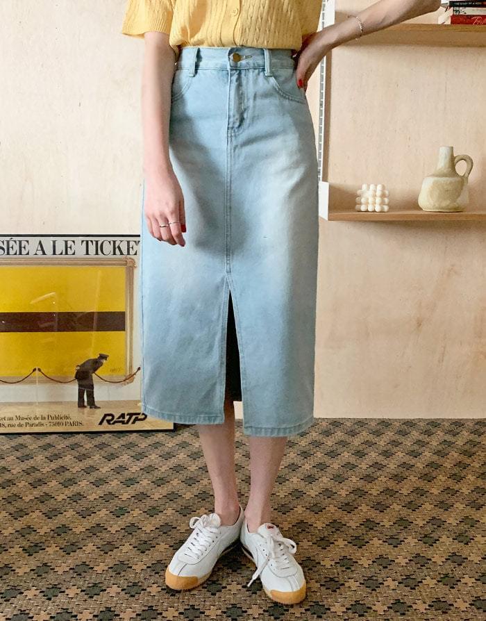 Eyed slit denim long skirt