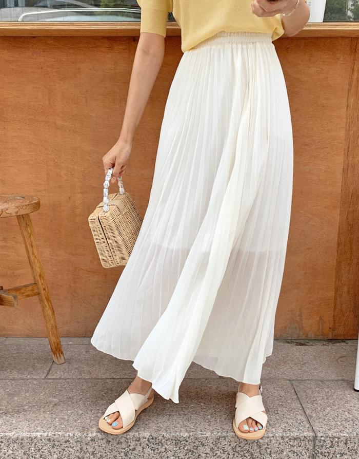 Goddess Chiffon Pleated Long Long Skirt