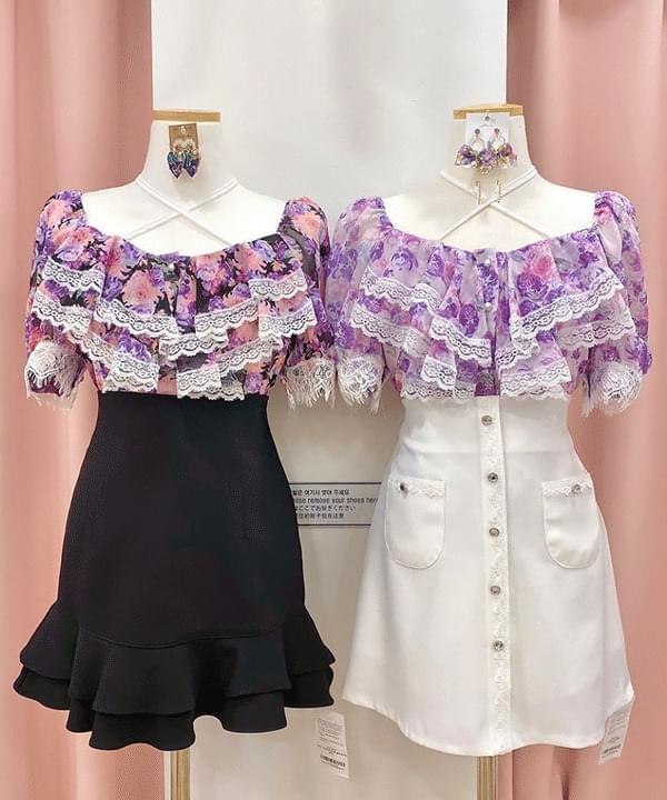 New discount ♥ purple floral blouse ブラウス
