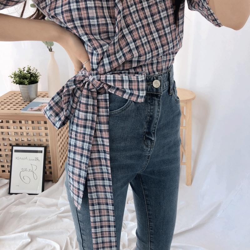 Checkwrap Big Ribbon Blouse
