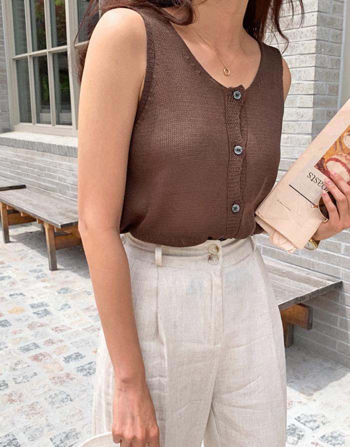 Bake button knit タンクトップ