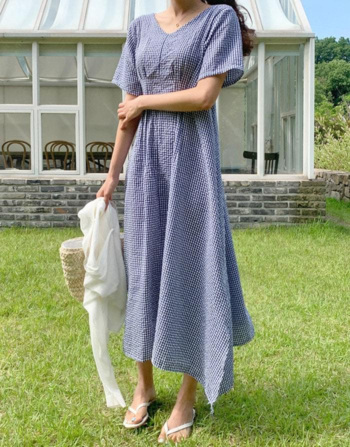 Foaming Seersucker Check Long Dress ワンピース