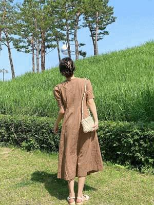 Picnic linen puff dress ワンピース