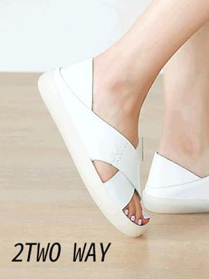Cuedon leather two-way sandals 2 cm