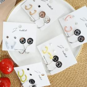 Smile pastel ring earrings set