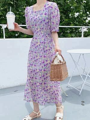 Rain chiffon square dress 洋裝
