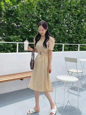 Yo-linen belt dress 洋裝