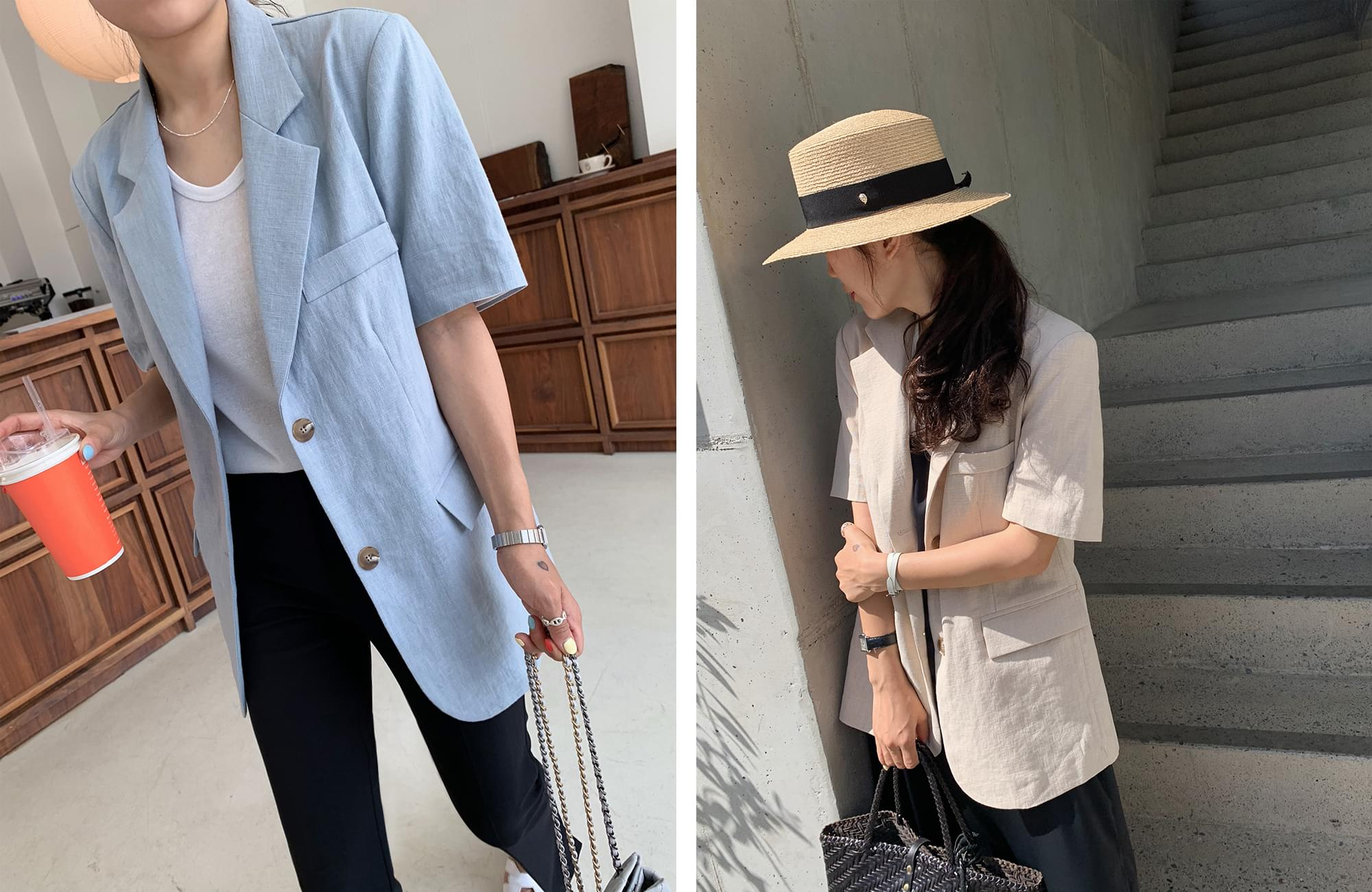 《Planned Products》Linen Loose Fit Short Sleeve Jacket