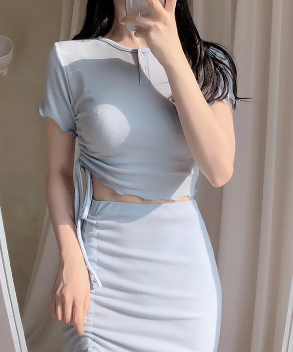 Limit crop button + shirring skirt set
