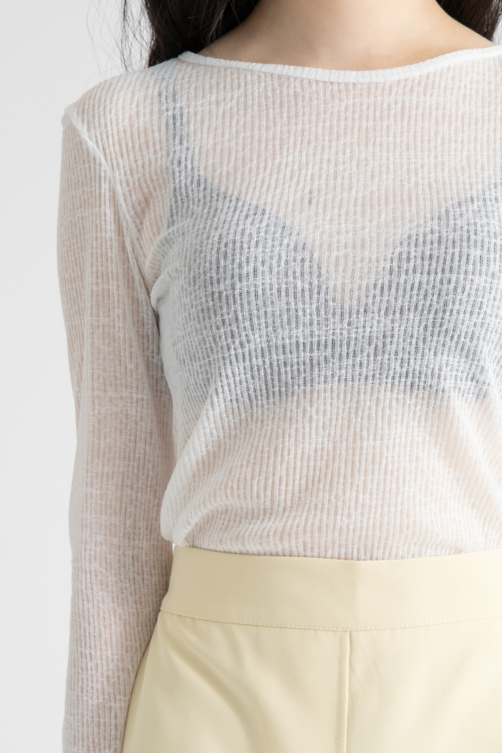 Easy see-through ribbed round-neck T-shirt