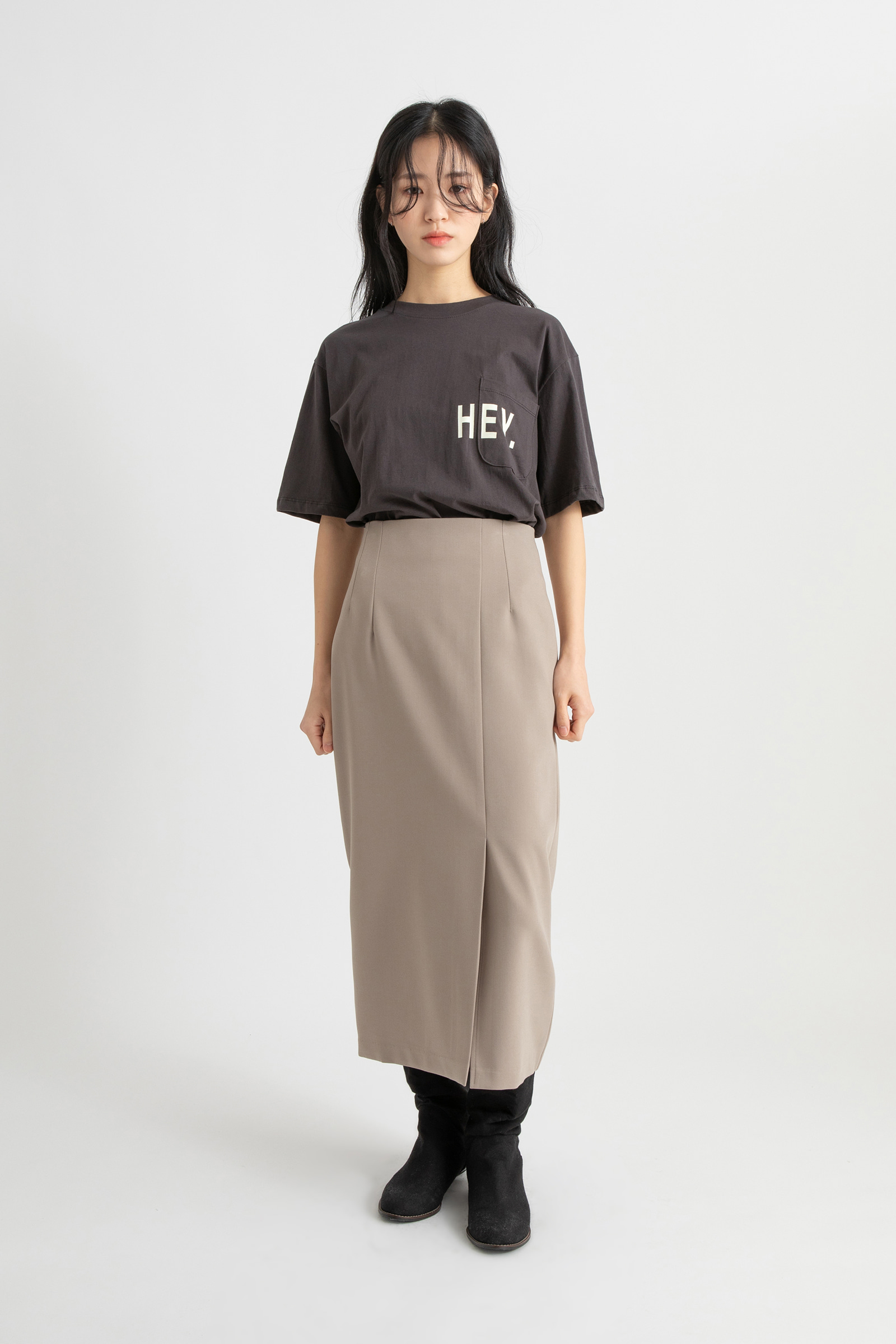 Hey lettering round neck t-shirt