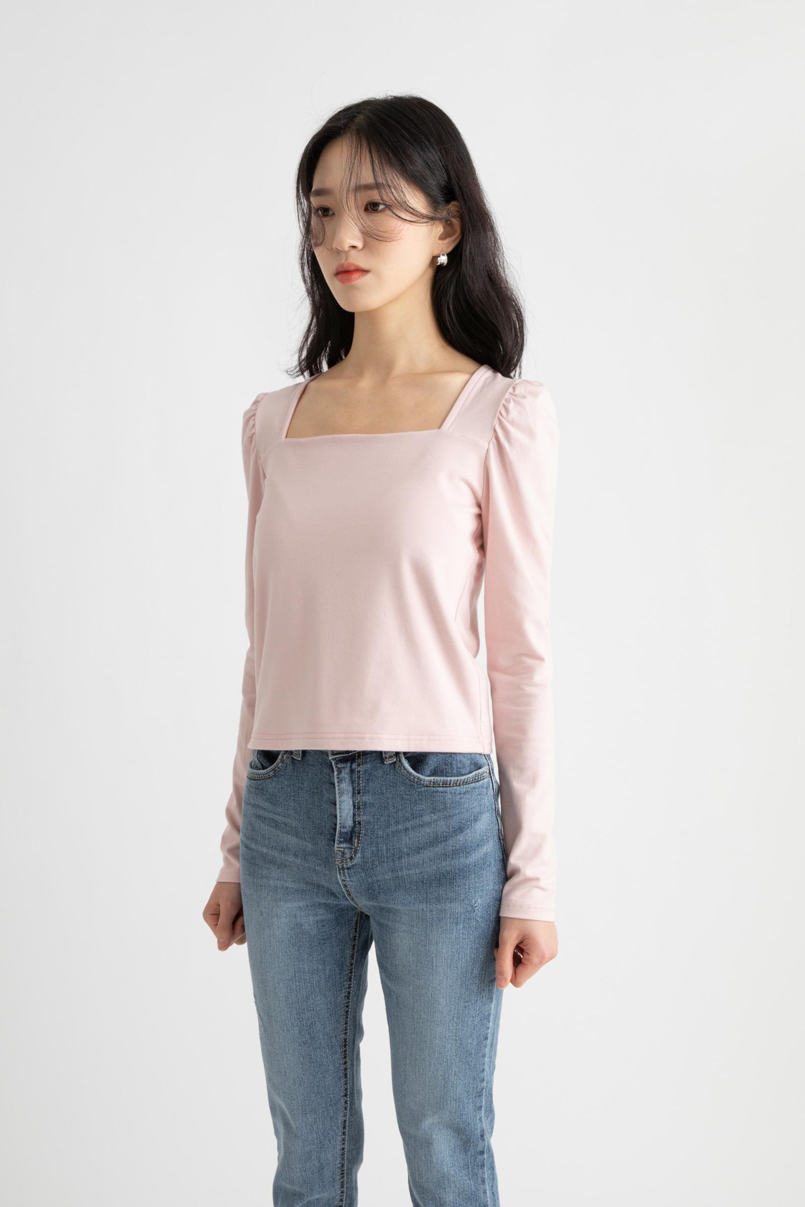 Baby Shirring Modal Square Neck T-Shirt